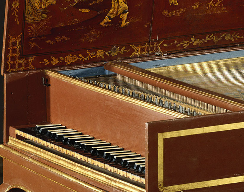 I_17 :  n°43  /Clavecin français à 1 clavier, vers 1720 -  Clavecin français à 1 clavier, vers 1720 depuis 1993, propriété du musée instrumental de Berlin  Cembalo, Katalognr. 5570 Berlin