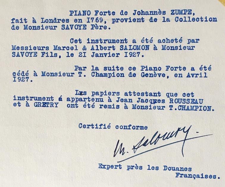 II-21  certificat concernant le Piano forte de J Zumpe