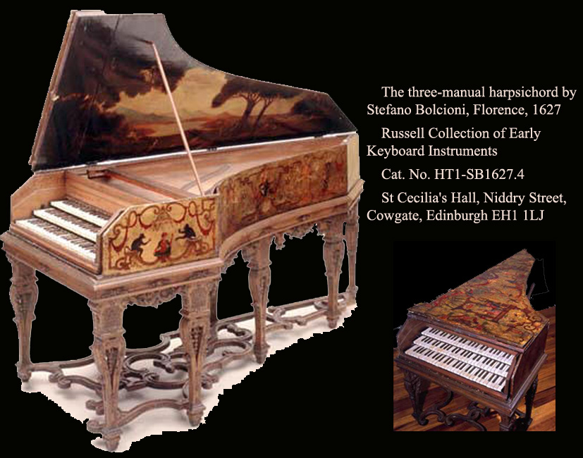 Clavecin à 3 claviers de Stefano Bolcioni, Florence 1627 Russel Collection Edinburgh