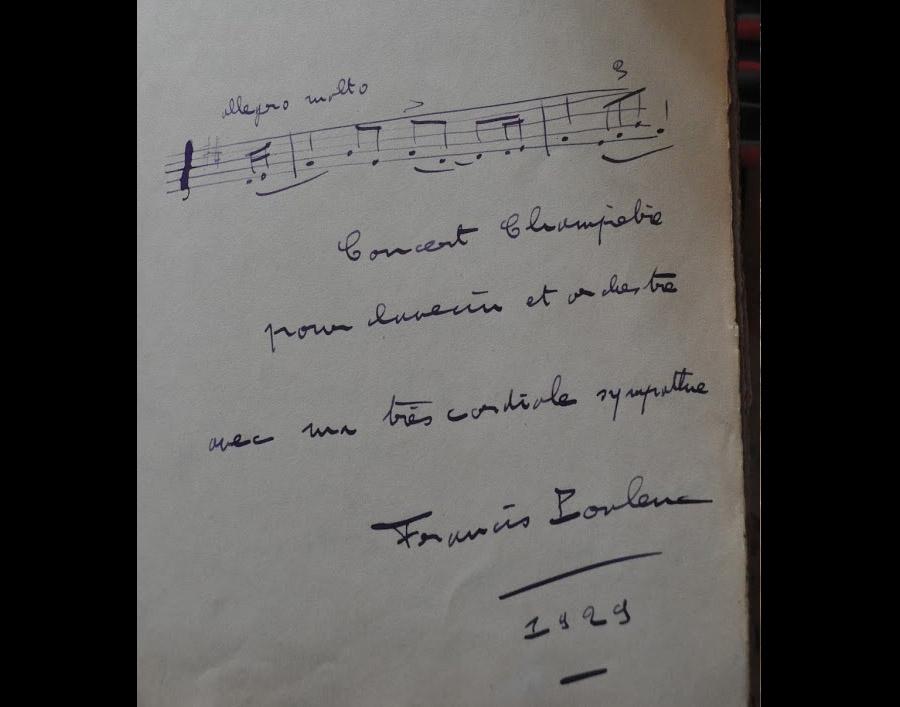 dédicace de Francis Poulenc sur le livre d'Or du Berceau Royal