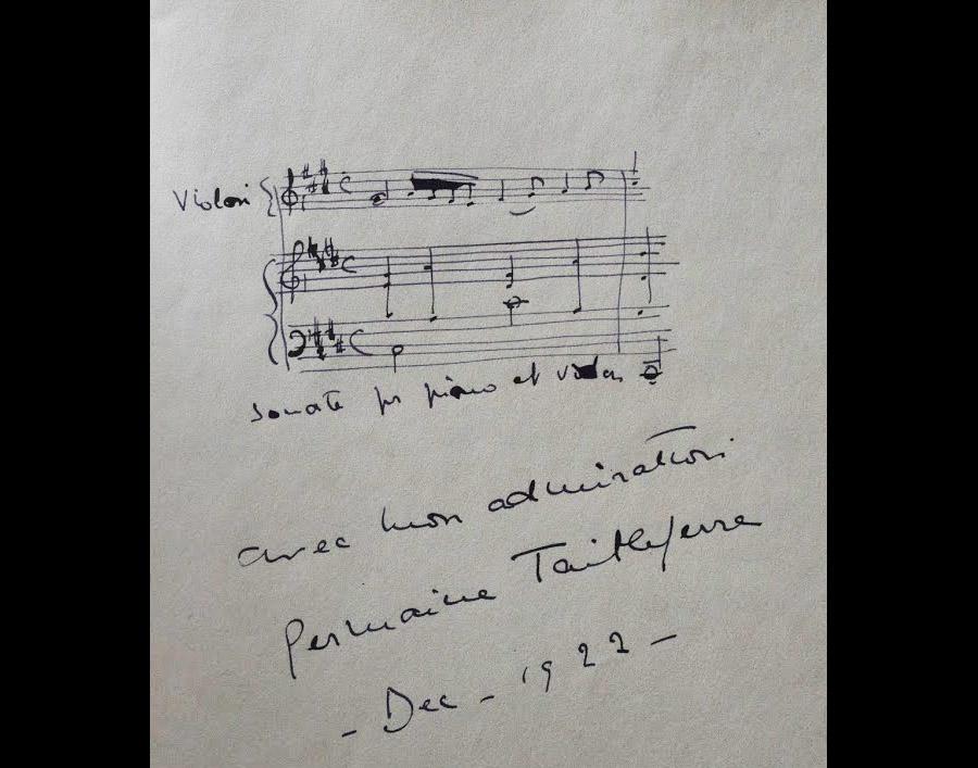 Sonate pour piano et violon de Germaine Tailleferre : sur le livre d'Or du Berceau Royal