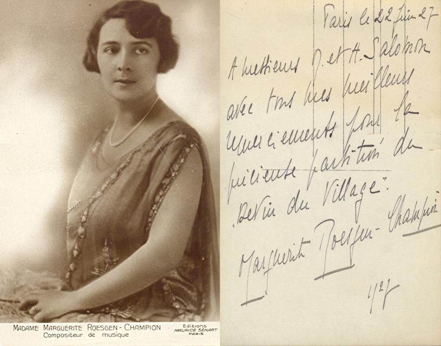 Marguerite Roesgen-Champion à M. et .A Salomon